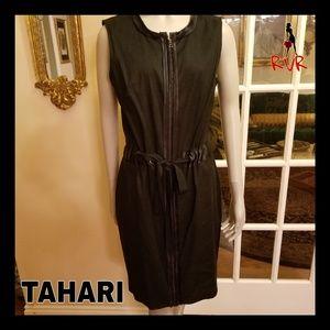 TAHARI LINEN ZIP UP CINCH WAIST DRESS